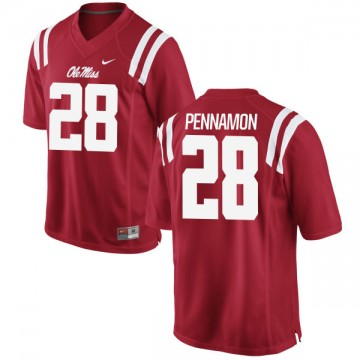 Men's D'Vaughn Pennamon Ole Miss Rebels Game Red Football Jersey -