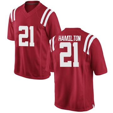Men's Javien Hamilton Ole Miss Rebels Nike Replica Red Football College Jersey