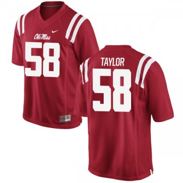 Men's Mike Taylor Ole Miss Rebels Nike Game Red Football Jersey -