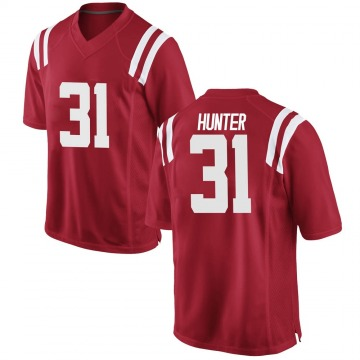 Men's Seth Hunter Ole Miss Rebels Game Red Football College Jersey
