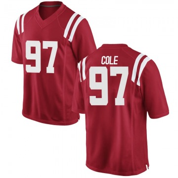 Men's Spencer Cole Ole Miss Rebels Game Red Football College Jersey