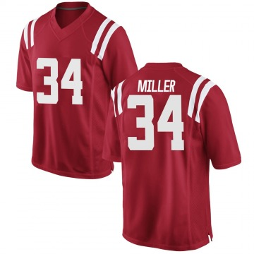Men's Zavier Miller Ole Miss Rebels Replica Red Football College Jersey