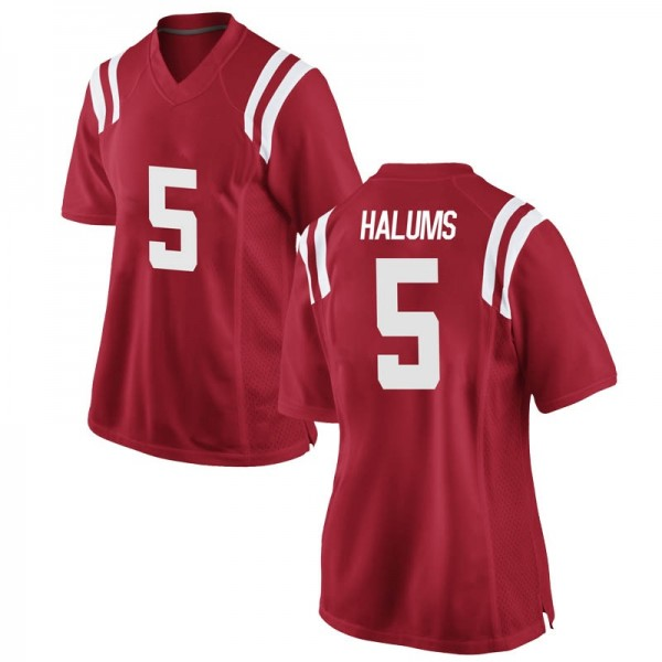 Women's Brian Halums Ole Miss Rebels Nike Game Red Football College Jersey