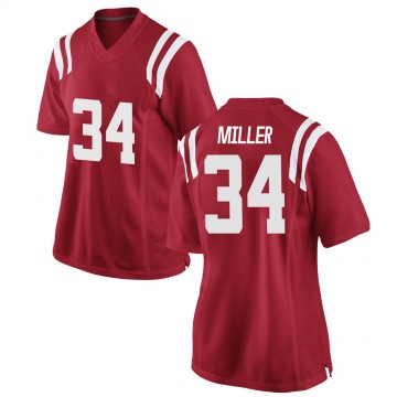 Women's Zavier Miller Ole Miss Rebels Nike Game Red Football College Jersey