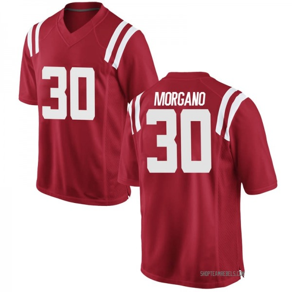 Youth Antonio Morgano Ole Miss Rebels Nike Game Red Football College Jersey