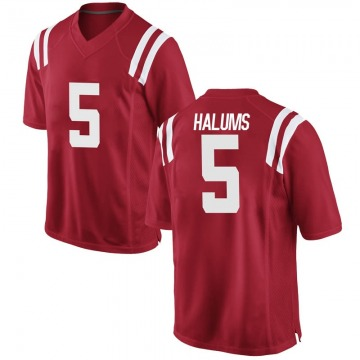 Youth Brian Halums Ole Miss Rebels Nike Game Red Football College Jersey