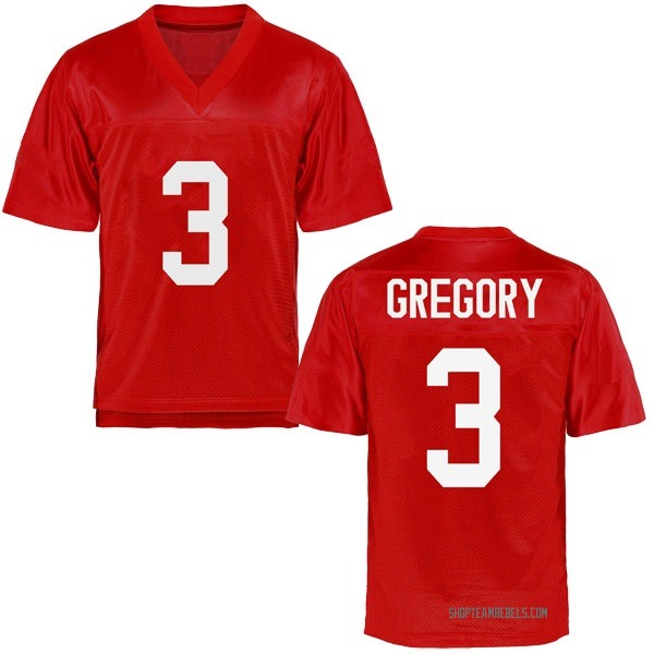 Youth DeMarcus Gregory Ole Miss Rebels Game Cardinal Football College Jersey