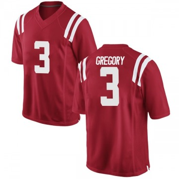 Youth DeMarcus Gregory Ole Miss Rebels Nike Replica Red Football College Jersey